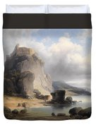 overlooking the castle ruins Devin Duvet Cover