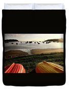 Overturned Boats On Shore Of Harbor Duvet Cover
