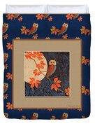 Owl And Moon On Midnight Blue Duvet Cover