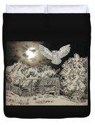 Owl In The Moonlight On Brush Mountain Duvet Cover