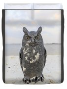 Owl On The Beach Duvet Cover