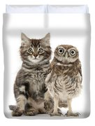 Owling And Yowling Duvet Cover