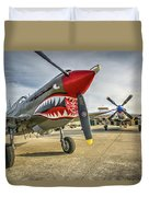 P40 Warhawk And P51d Mustang On The Ramp Duvet Cover
