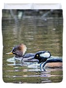 Pa And Ma Hooded Mergansers Duvet Cover