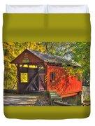 Pa Country Roads - Henry Covered Bridge Over Mingo Creek No. 3a - Autumn Washington County Duvet Cover