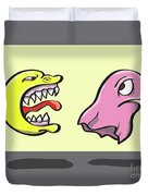 Pac Man And Ghost Illustration Duvet Cover