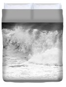 Pacific Ocean Breakers Black And White Duvet Cover