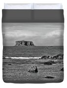 Pacific Ocean Coastal View Black And White Duvet Cover