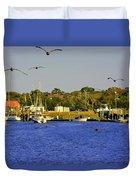 Paddle Boarders Vs Birds Duvet Cover