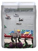 Paddleboats Waiting In The Inner Harbor At Baltimore Duvet Cover