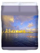 Paddling Beneath Rainbow Duvet Cover by Carl Shaneff - Printscapes