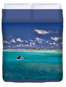 Paddling In Moorea Duvet Cover by David Smith