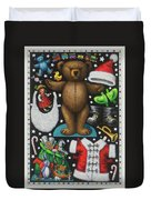 Page 1 Of 2 Teddy Bear Santa Claus Paper Doll Duvet Cover