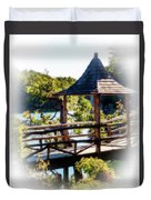 Pagoda Over The Lake Duvet Cover