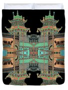 Pagoda Tower Becomes Chinese Lantern 1 Chinatown Chicago Duvet Cover by Marianne Dow