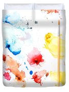 Paint Splatters And Paint Brush Duvet Cover by Chris Knorr