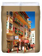 Painted Balconies In San Francisco Chinatown Duvet Cover