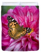 Painted Lady On Dahlia Duvet Cover