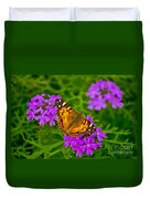 Painted Lady On Purple Verbena Duvet Cover