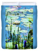 Painted North American White Water Lily Duvet Cover