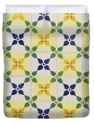 Painted Patterns - Floral Azulejo Tiles In Blue Green And Yellow Duvet Cover