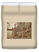Painted Shore Camps In Sepia Duvet Cover