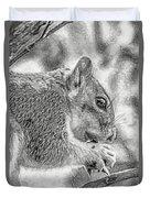 Painted Squirrel Duvet Cover