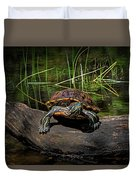 Painted Turtle Sunning Itself On A Log Duvet Cover