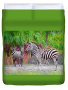 Painted Zebra Duvet Cover