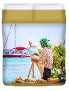 Painter At Work, Holetown Beach, Barbados Duvet Cover