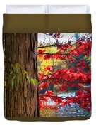 Painterly Rendition Of Red Leaves And Tree Trunk In Autumn Duvet Cover