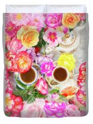 Painterly Tea Party With Fresh Garden Roses II Duvet Cover