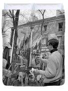 Painters In Montmartre, Paris, 1977 Duvet Cover