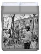 Painters In Montmartre, Paris, 1977 Duvet Cover