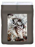 Painting Abstract Tiger Collage On Color Abstract  Background  Rust Structure Wildlife Animals Duvet Cover