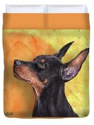 Painting Of A Cute Doberman Pinscher On Orange Background Duvet Cover
