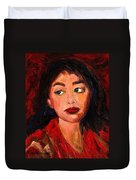 Painting Of A Dark Haired Girl Commissioned Art Duvet Cover