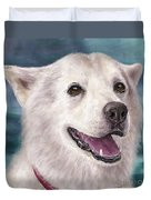 Painting Of A White And Furry Alaskan Malamute Duvet Cover