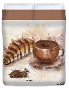 Painting Of Chocolate Delights, Pastry And Hot Cocoa Duvet Cover