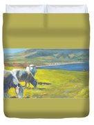 Painting Of Sheep On A Cliff Top Duvet Cover