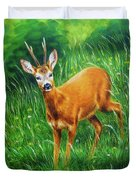 painting of young deer in wild landscape with high grass. Eye contact. Duvet Cover
