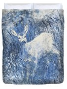 Painting Of Young Deer In Wild Landscape With High Grass. Graphic Effect. Duvet Cover