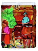 Paintings Of Montreal Streets Old Montreal With Flower Cart And Caleche By Artist Carole Spandau Duvet Cover by Carole Spandau