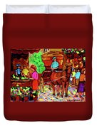Paintings Of Montreal Streets Old Montreal With Flower Cart And Caleche By Artist Carole Spandau Duvet Cover
