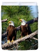 Pair Of American Bald Eagle Duvet Cover