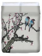 Pair Of Birds On A Cherry Branch Duvet Cover