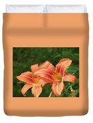 Pair Of Blooming Orange Lilies In A Garden Duvet Cover