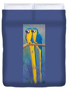 Pair Of Blue And Gold Macaws Duvet Cover