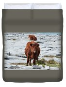 Pair Of Cows Grazing On The Burren In Ireland Duvet Cover