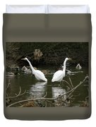 Pair Of Egrets Duvet Cover by George Randy Bass